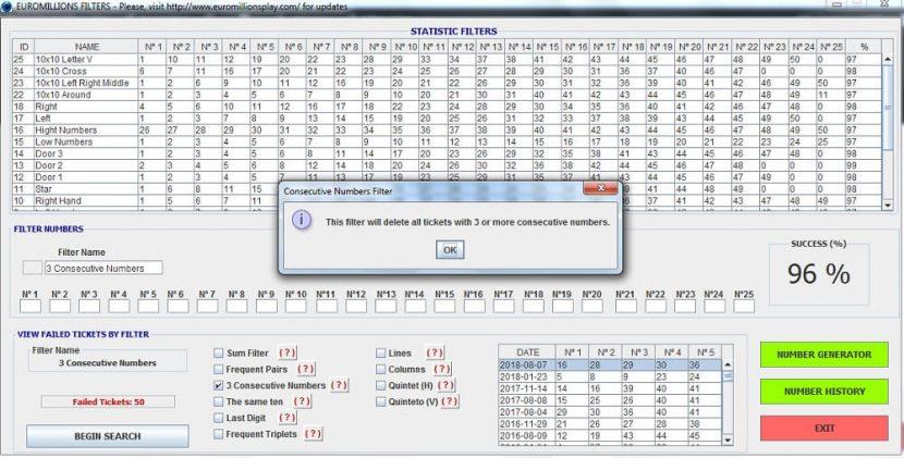 Filtro Números Consecutios - Software EuroMillions Play