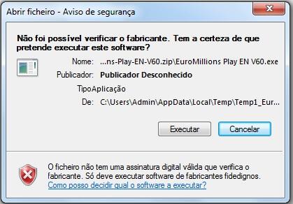 EuroMillions Play - Aviso na instalação - Etapa 4
